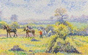 Picture landscape, picture, Hugues Claude Pissarro, The reaping at Champigny-Orne