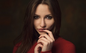 Picture look, face, background, portrait, lipstick, brunette, touch, light, young, eyes, model, beauty, sweater, nice, inspiration, …