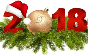 Picture tree, ball, New year, 2018, New Year, Happy
