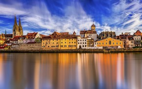 Picture the sky, the sun, clouds, bridge, river, home, Germany, panorama, Regensburg