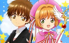 Picture wings, angel, boy, girl, Card Captor Sakura, Sakura - collector cards