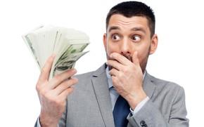 Wallpaper money, white background, surprise, male, dollars, bills, pack, costume