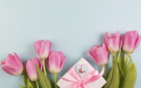 Picture flowers, gift, bouquet, tulips, love, pink, fresh, wood, pink, flowers, romantic, tulips, gift, spring, with ...
