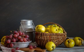 Picture basket, grapes, quince, cans