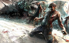 Picture zombie, blood, Linux, game, undead, beach, chaos, woman, dead, Microsoft Windows, island, man, sand, Xbox …