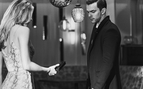 Wallpaper gun, Nicholas Hoult, Guy Aroch, girl, Nicholas Hoult, blonde, the situation, black and white