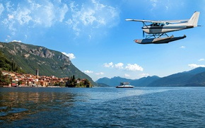 Picture the sky, the sun, clouds, mountains, lake, rocks, home, boat, Italy, seaplane, Lombardy, Lombardy, Lake …