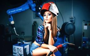 Wallpaper girl, cutter, gas welder, Mask welder chameleon, Welding Style