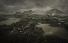 Picture mountains, planet, lake, titan, machinery