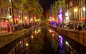 Picture night, lights, home, Amsterdam, channel, Netherlands