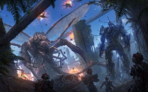 Picture fiction, robot, wings, monster, monster, cyborg, fight, tentacle