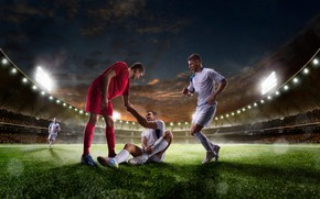 Wallpaper lawn, floodlight, grass, the sky, field, players, athletes, night, stadium, lights, uniform, tribune, football