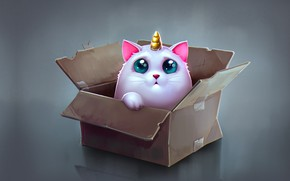 Picture anime, art, box, children's, Katya Art, Cat Unicorn