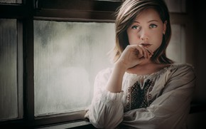 Picture look, girl, mood, hand, window, blouse, embroidery, Leonie
