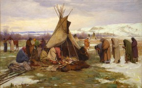 Picture the Indians, Joseph Henry Sharp, Dividing, The Chief's Property