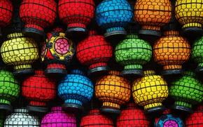 Picture paint, China, lanterns, market, Beijing