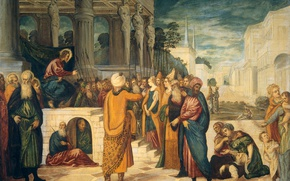 Picture oil, picture, canvas, mythology, Christ and the Adulteress, Tintoretto