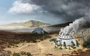 Picture mountains, facilities, climate change, desert retouching, Vaporous dome