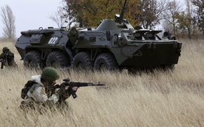 Wallpaper APC, BTR-80, soldiers