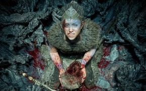 Picture sake, girl, blood, game, weapon, woman, blade, head, Bright blade, Hellblade Senua's Sacrifice