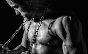 Picture black and white, chain, guy, monochrome, muscles