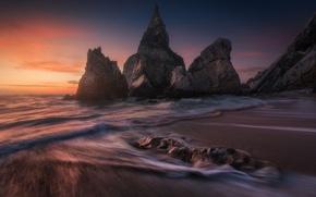 Picture stones, rocks, surf, Portugal