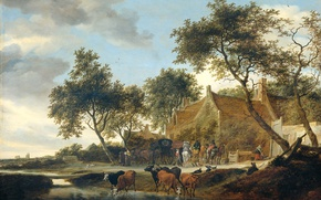 Picture animals, landscape, house, tree, oil, picture, Coaching Inn, Salomon van Ruisdael