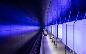 Wallpaper the platform, metro, Germany, station, Hamburg, lamp