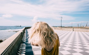Picture sea, summer, girl, clouds, blonde