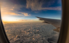 Wallpaper the sky, the sun, clouds, flight, the plane, view, height, wing, the window