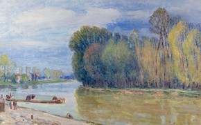 Picture landscape, picture, Alfred Sisley, Alfred Sisley, Channel Luena Is In The Spring. Morning