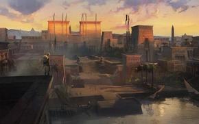 Wallpaper the city, Assassin's creed origin, assassin, Egypt