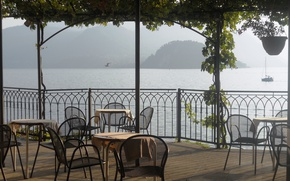 Picture city, Italy, terrace, tables, lake Como