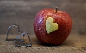 Picture drops, love, background, red, heart, Apple, food, fruit, hearts, Board, Valentine, heart, Valentine's day, holidays, …