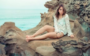 Picture girl, shore, Asian