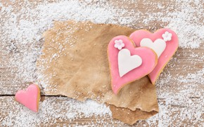 Picture paper, holiday, romance, Board, food, cookies, hearts, Valentine's day, wood, cakes, romantic, hearts, Valentine's Day, …