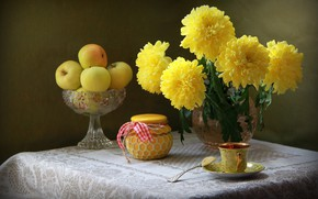 Picture still life with flowers, still life with chrysanthemums, still life with apples, still life with …