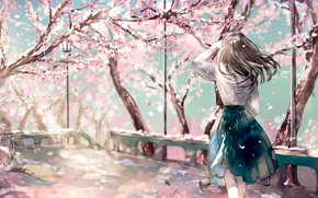 Picture Girl, Spring, Anime, Painting