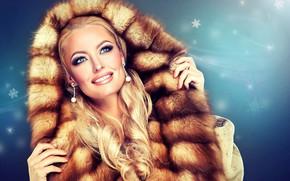 Picture decoration, snowflakes, smile, background, portrait, makeup, hairstyle, blonde, hood, coat, fur, beauty, curls