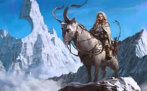 Picture snow, mountains, tops, fantasy, hunter, peak, Illustrator, 7890m, Park Pyeongjun