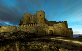 Picture the sky, light, night, old, darkness, stones, castle, wall, romance, tower, hill, ruins, bricks, twilight, …