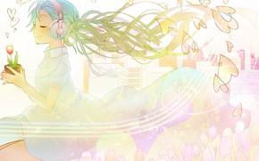 Picture Tulip, headphones, hearts, vocaloid, Hatsune Miku, white dress, Vocaloid, blue hair, closed eyes, flower pot