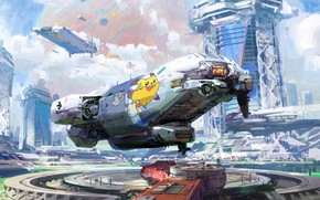 Picture fiction, art, the spaceport, fragment, John Wallin Liberto, Spaceport