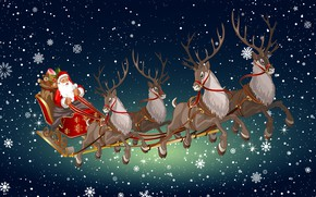 Picture Winter, Minimalism, Snow, Background, New year, Santa, Holiday, Deer, Santa Claus, Mood, Sleigh