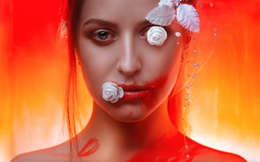Picture leaves, girl, decoration, makeup, lipstick, flowers, Alexander Drobkov-Light, Bright Maria