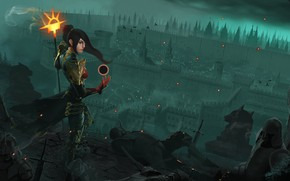 Picture look, girl, light, the city, magic, clothing, view, MAG, staff, dead, diablo 3, darkness.