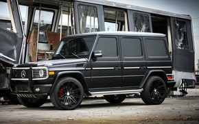 Wallpaper satin, AMG, G55, with, complete, black, Mercedes-Benz