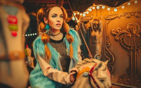 Picture mood, model, hair, red, carousel, redhead, vest, horse, Monica Sariego