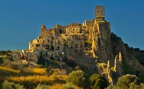 Picture landscape, rock, home, Italy, Basilicata, The krako