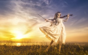 Wallpaper sunset, doll, violin